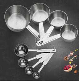 Vente en gros 4 Pcs / Set Acier Inoxydable Tasse De Mesure Cuisine Outils De Mesure Ensembles Pour Cuisson Du Sucre Café Cuillères Graduées Scoop