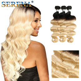 Two Colored Hair Extensions NZ - 7A Malaysian Body Wave Bundles 1B 613 Colored Two Tone Hair Weaves 3Pcs Lot 613 Blonde Hair Dark Roots Ombre Human Hair Extensions