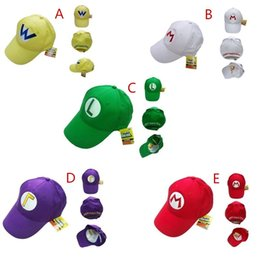 Super Mario Bros Cosplay Costume Pas Cher-Drop Shipping Super Mario Bros Réglable Pour Adultes Enfants Costume Chapeau Anime Cosplay Rouge MARIO 5 Couleur Mario Baseball Cap Cadeau