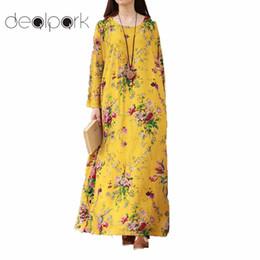 XXXL 5XL Plus Size Vintage Dress Women Maxi Floral Long Dress female Long  Sleeves Pockets O Neck Cotton Linen Loose Robe Dress q1113 011fe305b295
