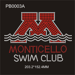Wholesale PB0003A Monticello Swim Club quot X6 quot h Siam crystal hot fix rhinestone heat on garment bag shose piece