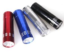 Vente en gros Portable 9 CREE LED UV Lampe de Poche Randonnée Torchlight En Alliage D'aluminium Argent Détection LED Lampe UV Lampe avec Boîte