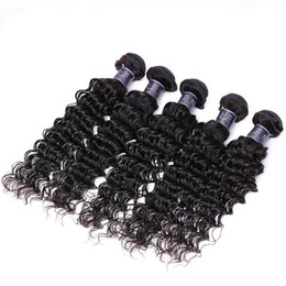 brazilian hair for wholesale UK - Z&F Deep Wave Brazilian Hair Human Hair Weft Extension Curly 100% Human Naturla Black 8-30inch For Black Woman #BZHW03