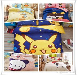Wholesale Cotton Bedding Pikachu Bedding Sets 200 230cm Sheet Pillow Cartoon Bedroom Sets For Kids And Adult A0330