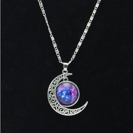 $enCountryForm.capitalKeyWord Canada - Vintage starry Moon Outer space Universe Gemstone European and American style fashionable Pendant Necklaces FREE SHIPPING