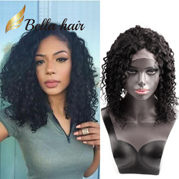 black curly human hair wig 2019 - 150% Density Kinky Curly Virgin Hair Front Lace Wigs 14inch Natural Black Color Peruvian Deep Curly Full Lace Wigs Human