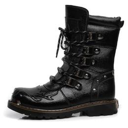 Vente en gros Armée Bottes Hommes Bottes Militaires En Cuir Véritable Hiver Noir Vache Split Métal Gothique Punk Bottes Mâle Chaussures Moto Botas Hombre 20D50