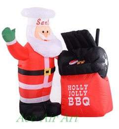 Tangkula Christmas Chef Babbo Natale Airblown Gonfiabile Natale BBQ Santa Decor Outdoor Yard 4 metri