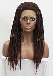 kanekalon lace wigs Canada - Black Burgundy Mix Synthetic Braiding Hair Wig Full Kanekalon Braided Lace Front wigs For Black Women, Braid Wig for Africa American