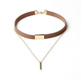 Necklaces Pendants Australia - Black Brown Velvet Alloy Chain Choker Necklace Multi-layer Charm Metal Bar Pendant Bib Collar Necklaces Women Fashion Jewelry Gifts Accessor