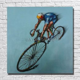 $enCountryForm.capitalKeyWord Canada - Handmade oil painting pop man drive the bicycle cartoon pictures designer home decor oil paintings for home sense