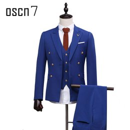 Barato Vestido De Terno Duplo-Atacado - OSCN7 Blue Suit Men 3pcs Double Breasted Suit Slim Fit Custom Made Trajes de casamento para homens Costume Homme Terno masculino
