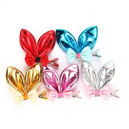 Dog Hair Clipping UK - 2016 New Pet rabbit ears hairpin sequins cute Dog hair clips pet accessories pet suppy 50pcs