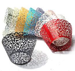 $enCountryForm.capitalKeyWord UK - 12Pcs Pack Hollow Out Flower Vine Cupcake Paper Wrappers Wraps Cases Muffin Cake Cup Wedding Birthday Party Decorations
