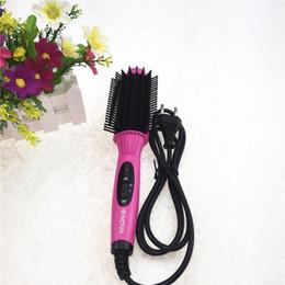 Discount hair straightening brush japan Hair Straightener Iron Brush Ceramic 2 In 1 Hair Straightening Curling Irons Hair Curler EU US Plug a69