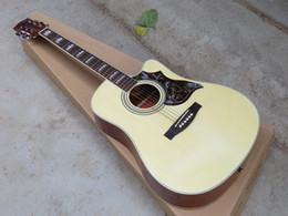 Guitar Factories Canada - China Guitar Factory Wholesale Custom Shop Cutaway Burlywood Spruce Top Rosewood Fretboard Acoustic Guitar Free Shipping