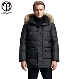 hats crosses UK - Asesmay men's brand clothing long parkas men white duck down jacket casual coat natural fur winter jackets men thick down jacket