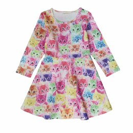 Discount cartoon animal heads - Wholesale Printed Girl Dress Sleeveless Kids Clothing 2017 Summer Cartoon Cat Head Girls Princess Dresses Pink Polka Dot