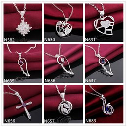 Chain Hollow Snake Silver NZ - Cross heart shape hollow 925 silver Necklace(with chain) 10 pieces a lot mixed style,women's gemstone sterling silver Pendant Necklace EMP12