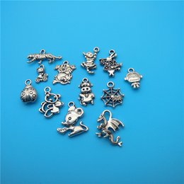 $enCountryForm.capitalKeyWord Canada - Mixed Tibetan Silver Animal spider Cat Cows Monkey ladybug Dragon Charms Pendants For Jewelry Making Findings Bracelets Handmade Crafts