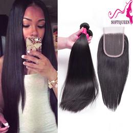 Discount 3pcs hair closure - Virgin Brazilian Indian 3pcs Hair Extension And 1 Piece Lace Closure Straight Human Hair Weave Bundles With Top Closure
