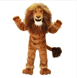 Costume De Lion Masculin Pas Cher-Puissance Homme Roi Lion Mascot Costume Adulte Animal sauvage Thème Carnaval Party Cosply Mascotte Costume SHIP Fancy Dress EMS FREE