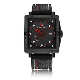 Leather Watch Square For Men UK - NAVIFORCE Quartz Watches For Men 9065 Fashion 40MM Square Leather Watch Mens Fashion Sport Waterproof Wristwatches