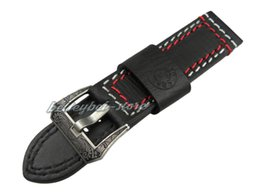 Discount panerai watch band strap 22mm - 22mm Women Men Genuine Cowhide Leather Black with Red White Stitches Thick Watch Band Strap Belt Engrave Black in Silver