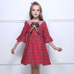 England Plaid Canada - Kseniya Kids Autumn Girl Red England Plaid Baby Girls Flower Clothes With Bow Dresses Retro Style Flare Long Sleeve Casual Dress