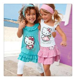 new summer baby girl hello kitty 2019 - 2016 New 2-8 Year Baby Girls Hello Kitty Skirt Suits Kids Headband+Dress+Pants Cotton Clothing 3pcs Sets Girls Summer Su