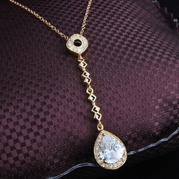 yellow gold 18k Australia - Tassel Pendant Necklace 18k Yellow Gold Filled Womens Pendant Chain