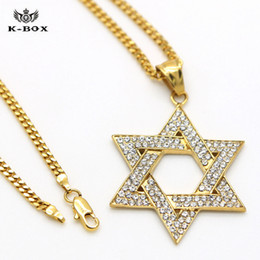Gold jewish star necklace online gold jewish star necklace for sale chrimas gift mens hip hop gold iced out jewish star of david charm pendant hip hop 24inch miami cuban chain necklace aloadofball Images