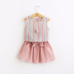 Equipos Lindos Tutú De Las Niñas Baratos-Everweekend Girls Striped Tees con Bow Ruffles Dress 2 piezas Sets Cute Baby Pink y Blue Color Clothes Lovely Kids Summer Outfits