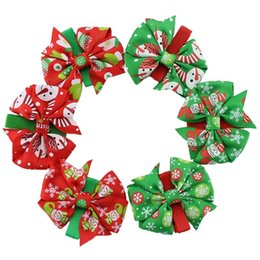 Barato Arco De Cabelo Atacado-Atacado Girls Christmas Bow Barrettes Baby Xmas Headbands Girl Childrens Santa Hair Sticks Fabric Flowers Kids Hair Hairband