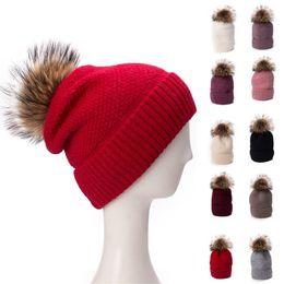 Chinese  Womens Winter Rabbit Hair Angora Knitted Slouchy Beanie Bonnet Cap Turn Up Fur Pom Pom Fleece Inside Hat T303 manufacturers