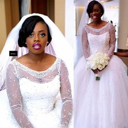 $enCountryForm.capitalKeyWord Canada - 2019 African Wedding Dresses Scoop Sheer Neck Illusion Long Sleeves Wedding Dress Ball Gown Tulle Beads Plus Size Bridal Dress