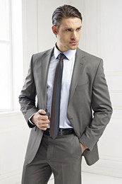 $enCountryForm.capitalKeyWord Canada - Slim Fit Charcoal Grey Groomsman Notch Lapel Two Buttons Groom Tuxedos For Men Wedding Suits Wool Blend Custom Made Two Pieces (Jacket+Pant)