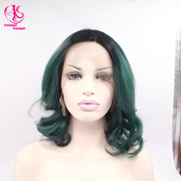 $enCountryForm.capitalKeyWord Canada - Cool! High quality green black ombre bob wig wirth dark roots nature wave glueless synthetic lace front wig heat resistant in stock