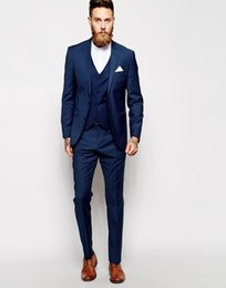 Barato Terno Azul Adaptado-Custom Made Azul Men Marinha Suit Tailor Made Terno Homens Terno do casamento Slim Fit noivo smoking para homens (Jacket + Pants + Vest)