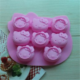 $enCountryForm.capitalKeyWord Canada - New Arrival Silicone Cake Cup Moulds 8 Cavity Hello Kitty Mold Chocolate Cnady Mold Ice Cube Trays