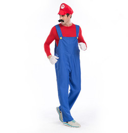 Super mario clothing online shopping - Halloween Costumes Men Super Mario Luigi Brothers Plumber Costume Jumpsuit Fancy Cosplay Clothing for Adult Men