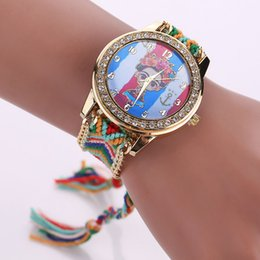 $enCountryForm.capitalKeyWord Canada - 2016 Handmade Braided Friendship Bracelet Watch New Arrival Flag Cartoon Printed Hand-Woven Wristwatch Crystal Ladies Watch Women Watches