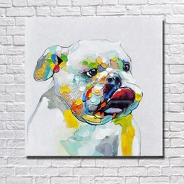 decorative hand paintings Australia - Hand painted in high quality animal pet bull dog oil painting decorative canvas art pictures for living room