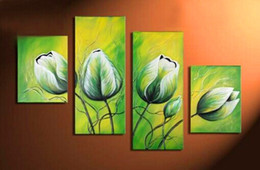 $enCountryForm.capitalKeyWord Canada - 100%Hand painted 4 pcs set modern oil painting on canvas wall art pictures for home decoration green flowers