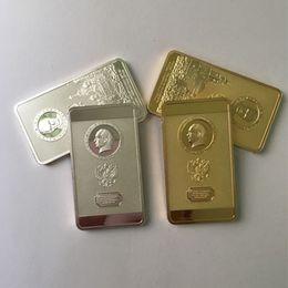 $enCountryForm.capitalKeyWord Australia - 10 Pcs The Putin coin president of Russia kremlin silver gold plated badge 50 x 28 mm ingot souvenir collectbile decoration coin