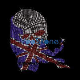 Wholesale texas irons resale online - England Texas Flag Skull Rhinestone Transfer Iron On Hotfix Motif Hot Fix Applique