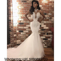 9388de5b7b83e African Sexy Mermaid Beach Wedding Dresses 2018 Arabic Cheap High Neck  Illusion Bodice Top Lace Appliques Tulle Skirt Country Bridal Gowns