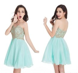 Barato Menta Vestido De Baile Querida-Apenas 36 $ Cheap In Stock Mint Green Mini Vestidos de casamento curto 2016 Sweetheart A Line Zipper Back Prom Cocktail Dresses