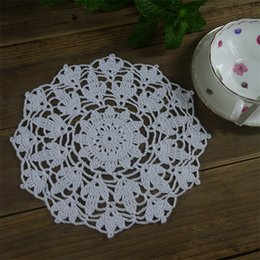 "Round Kitchen Sets Australia - Crocheted doilies kitchen decor drink coasters wedding decor 21cm 8.3"" Handmade table coffee pad set of 10 pcs"