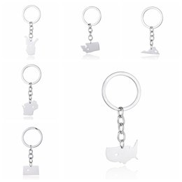 Us States Map Key Rings Stainless Steel Keychains 50 State Car Bag Accessory Charm Pendant For Men And Women Wholesale